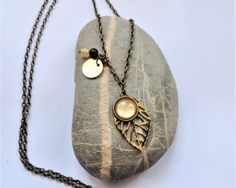 gold painted cabochon necklace