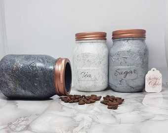 Large Set of 3 Tea Coffee Sugar Grey/Silver Marble Kitchen Canister Set