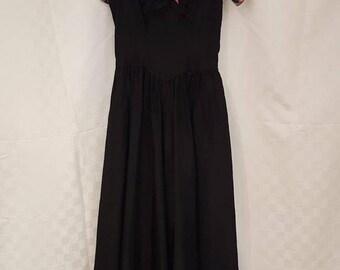 Stunning Small 1940s Rainbow And Black Formal Dress