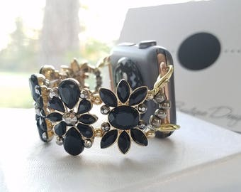 Apple Watch Band 38mm, Apple Watch Band 42mm, Apple Watch Band Women's, Black and Gold Tone, Flower design