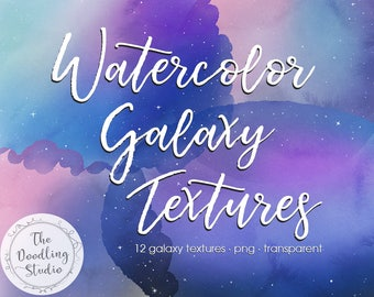 Watercolour Galaxy Textures - 12 TEXTURES (png, transparent, bendable) - Digital Download