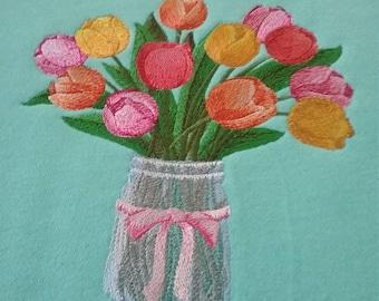 Mason Jar of Tulips Embroidered Sweatshirt