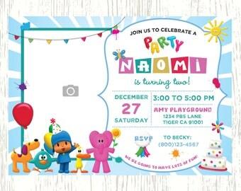 Pocoyo Birthday Invitation PBS Kids Children Birthday Invitation