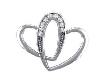 Interlocking Heart Cubic Zirconia Pendant, Interlocking Heart Pendant, Cubic Zirconia Pendant, Silver Jewelry, Silver Pendant, Gift For Her
