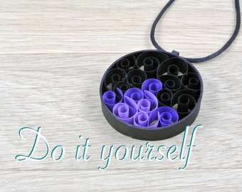 Kit creative pendant shaped black paper, quilling for beginner kit. Kit diy child or adult, color choice.