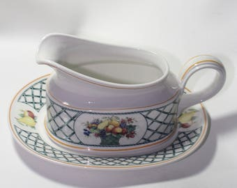 Villeroy and Boch Basket Gravy Boat and Underplate, Never used, Retired