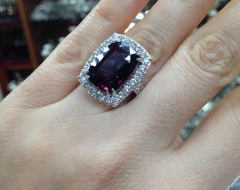 10.35ct Natural Spinel, African Spinel, Changing Color Natural Spinel, Spinel and Diamond Ring