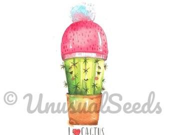 I Love Cactus  - Original Watercolor PRINTABLE Art / Cactus Art Print / Original Painting Print