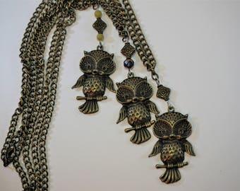 Owl Necklace, Bronze Owl Necklaces, Owl Pendants