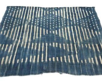Vintage Indigo african mudcloth fabric throw, no.289