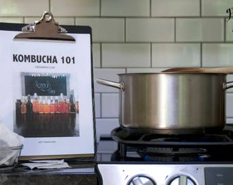Kombucha 101, Beginners Guide, DIY, How-to Instructions, Level 1, Downloadable PDF, Scoby, Organic, Raw, Live, Booch, Home brew