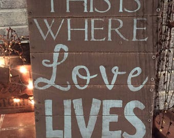 This is where love lives - primitive wooden distressed sign