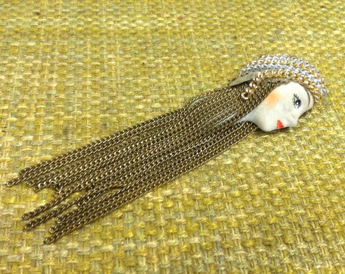 Vintage Pin Button Head woman Ladie Girl Decoration Accessoires