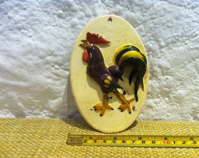 Vintage wall plate chicken ceramic dekoration beautiful painted
