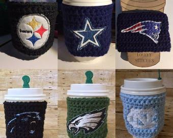 Football NFL Cup Cozy - custom team, beer cozy, drink sleeve, tailgate, coffee cozy, tea cozy, football gifts, sportslovers, superbowl