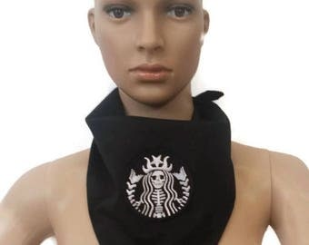 Embroidered skeleton Starbucks patch reversible scarf-bandanna-Halloween-trick or treat-black-one size fit