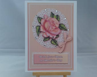 Mother's Day card - Peach rose