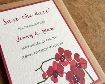 Printable personalised wedding Save the date card - Orchid