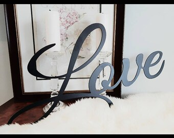 Powder coated love sign