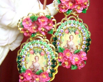Young Marie Antoinette Victorian Hand Painted Flowers Flowers  Studs Earrings