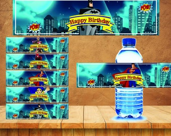 Superhero Bottle Water Labels, Super hero, Superheroes Water Labels, wrappers, Birthday party decorations, Party supplies, INS