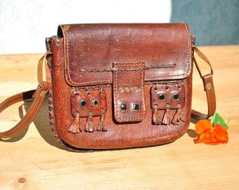 Leather bags women, leather shoulder bag, boho leather bag, brown leather purse, vintage festival bag, brown leather bag, leather ethnic bag