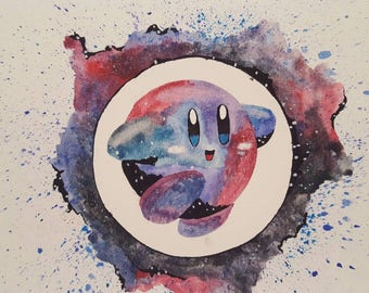 Original watercolor-Galaxy Kirby Fan Art