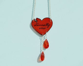 Eternally Emo Broken Bleeding Heart Necklace