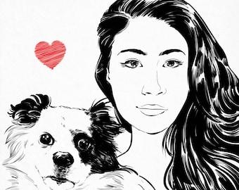 Custom portrait with pet. Pet memorial and caricature. Pet line drawing. Pet lover, pet loss gift. Cat portrait. Dog portrait. Pet portrait.