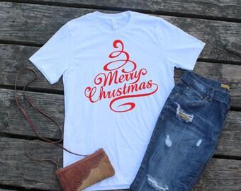 Merry Christmas T-Shirt; Merry Christmas Shirt; Merry Christmas Long Sleeve Tee; Xmas T-Shirt; Holiday T-Shirt
