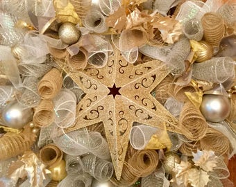 Champagne and White Deco Mesh Christmas Wreath