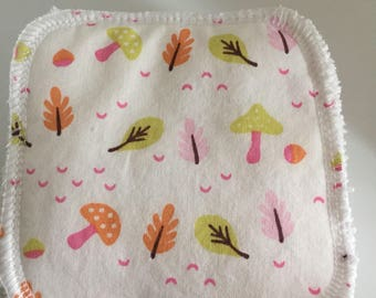 set of 10 wipes, cotton Terry and mushrooms pattern cotton