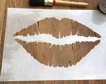 Lips Stencil, Mouth Stencil, Lipstick Art Stencil, Kiss Stencil, Fun Wall Stencil, Furniture Stencil, Wall Stencil, Craft Stencil, Decal