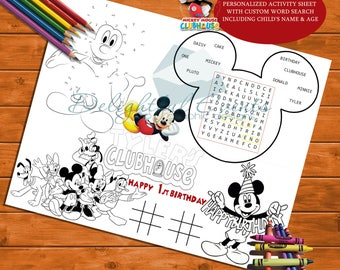 Mickey Mouse Clubhouse Birthday Personalized Activity and Coloring Sheet