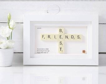 Handmade Best Friends Scrabble Art. Best Friends. Birthday Gift. Friend Present. Best Friends Gift. Best Friends Present.Gifts for her.