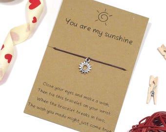 you are my sunshine, wish bracelet, friendship bracelet, cord bracelet, best friend charm bracelet, thank you gift idea, string bracelet