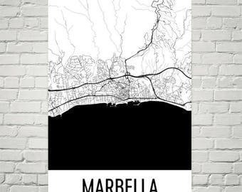 Marbella Map, Marbella Art, Marbella Print, Marbella Spain Poster, Marbella Wall Art, Map of Spain, Spanish Gifts, Spanish Decor, Spain Map