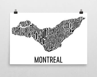 Montreal Typography Neighborhood Map Print, City Poster Art, Montreal Wall Art, Montreal Gifts, Map of Montreal, Montreal Quebec, Canada