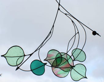 Stain Glass Leaf Window Hanging Stain Glass Art Tree