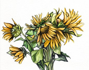 Original Flower Watercolour Painting, Sunflower Floral Watercolor Painting, Bunch of Sunflowers Art