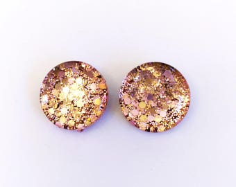 The 'Rose Gold Sass' Glass Earring Studs