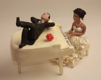 Unique Cake Toppers - Bride & Groom with Music Instruments Personalized Wedding Cake Topper, Couple. Wedding keepsake Bride With a Piano