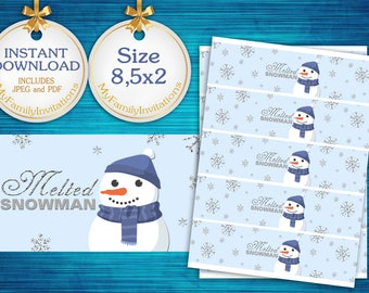 Melted snowman water bottle labels,winter baby water bottle wraps,blue and silver,winter first birthday,winter onederland,baby shower,ONE02