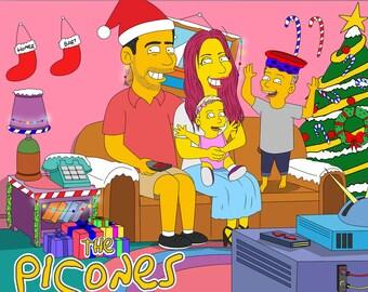 Christmas Portrait, Christmas Family, Christmas Drawing, Christmas Portrait, Christmas Illustration, Christmas Caricature