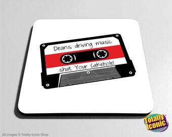 Supernatural Deans Music Mix Tape Drinks Coaster Mats - Driving Music Cassette Tape -Black Impala- Dean Winchester- Demons - Castiel Angels