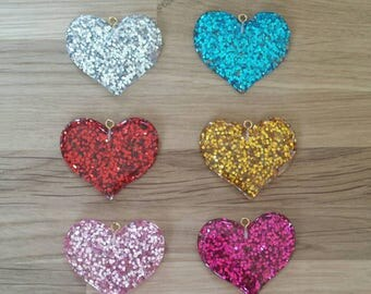 SALE// Glitter Heart Planner Charm// Bag Charm// Zipper Charm