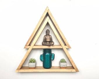 Double Triangle Shelf, Geometric Shelf, Wall Art, Crystal Shelf, Bohemian, Triangle Shelves, Geometric Shelves, Crystal Display, Boho