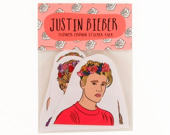 JUSTIN BIEBER, Flower Crown, 6 piece sticker set, Justin Bieber stickers, flower crown stickers, Justin Bieber purpose, Justin Bieber gift