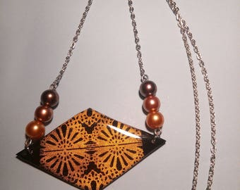 Diamond black and gold polymer clay necklace Hindu