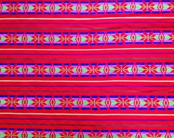 Mexican Fabric Red, Stripes and Embroidery Cambaya Serape Ethnic Zarape Colorful Stripes By the Yard